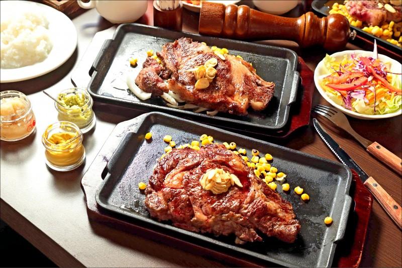 前起為老饕厚切肋眼牛排/540元(約300公克)、F1日本國產沙朗牛排/1,980元(約300公克)厚切肋眼油花分布均勻,3分熟的牛排在鐵盤上逐步加熱,進食時保持約5分熟的嫩口,肉汁飽滿,建議厚度約3公分,大口咀嚼才有滿足感;F1日本國產沙朗牛排油花豐沛,適合想品嚐滿嘴油脂香氣的人,多汁柔嫩,燒烤過後的沙朗,在滾燙鐵板上依然繼續熟成,油脂慢慢散開的模樣相當迷人。(記者陳宇睿/攝影)