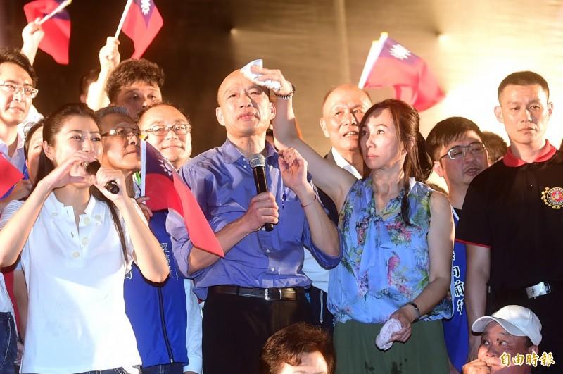 高雄市長韓國瑜22日在台中辦造勢大會。(記者廖耀東攝)