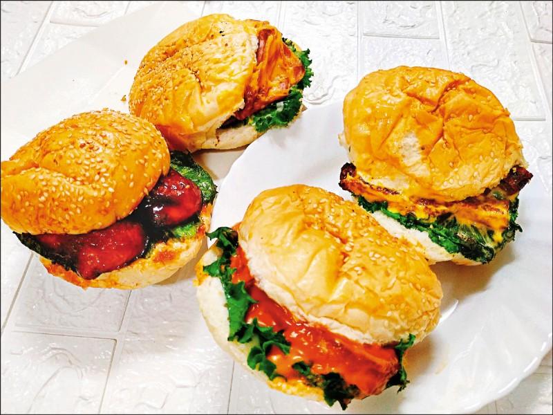無奶蛋的漢堡包加上起司番茄醬與新鮮生菜,還可以任選美式牛排、豬排、烤鴨等多重口味素漢堡。(圖片提供/緹兒蔬食夢)