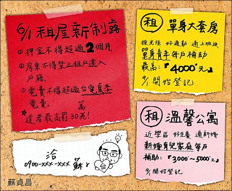 蘇揆宣傳租金補貼新制。(取自蘇揆臉書)