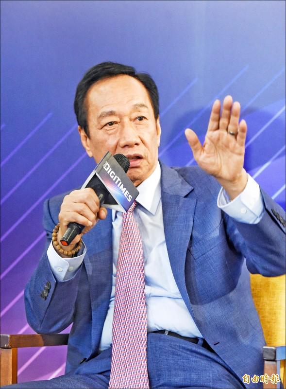 面對美中貿易大戰,國民黨總統提名參選人郭台銘昨表示,「維持台灣的主體性,力求三贏(台灣獲利、美國達標、中國轉型成功)。」(記者方賓照攝)