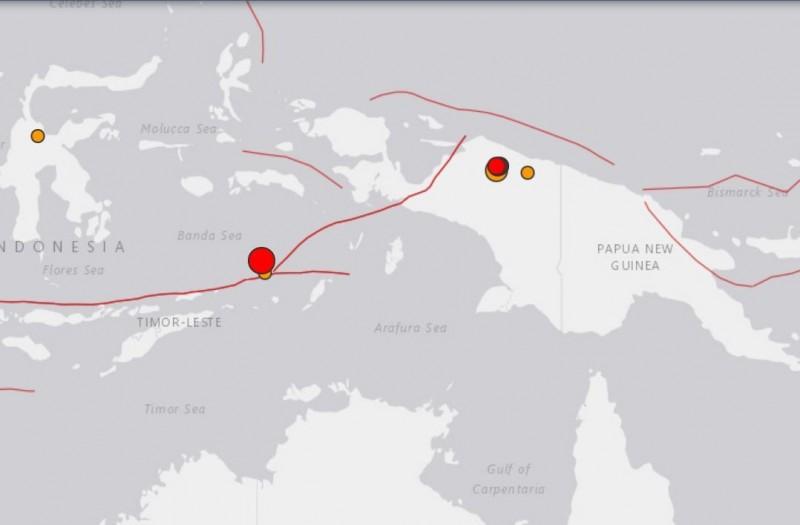 印尼班達海今(24日)發生芮氏規模7.3強震(最大紅點處)。(圖擷自美國地質調查所網站)