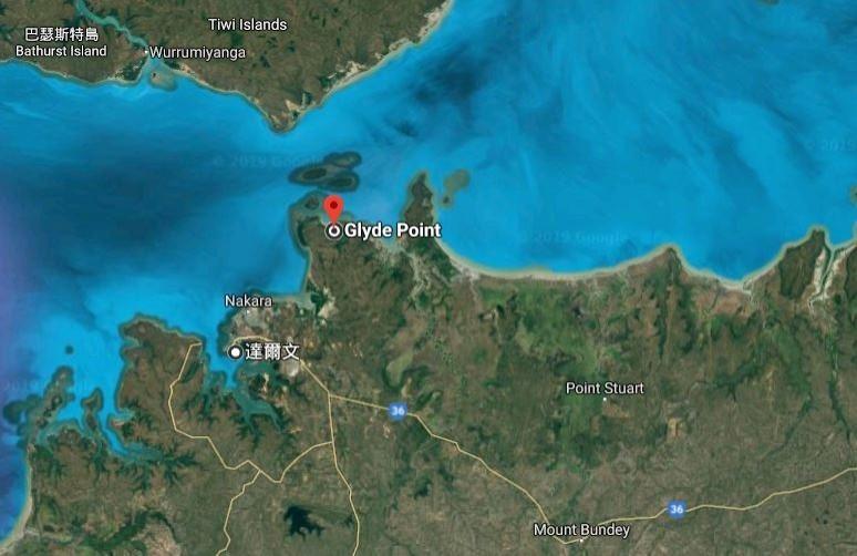 澳洲計畫在格萊德角(Glyde Point)建設新的深水港。為圖中紅點處。(圖擷取自Google地圖)