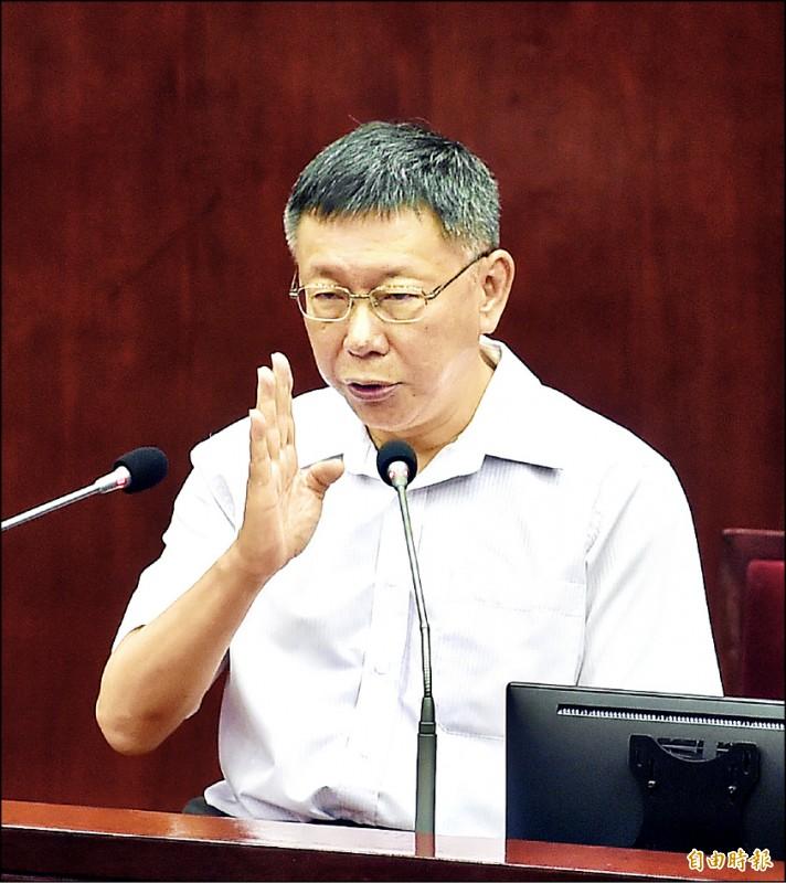 台北市長柯文哲表示,若與劉結一不期而遇,不迴避見面。(記者方賓照攝)