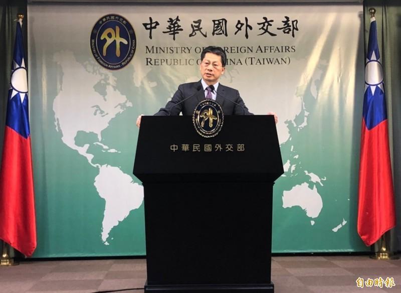 外交部發言人李憲章出席例會。(記者呂伊萱攝)