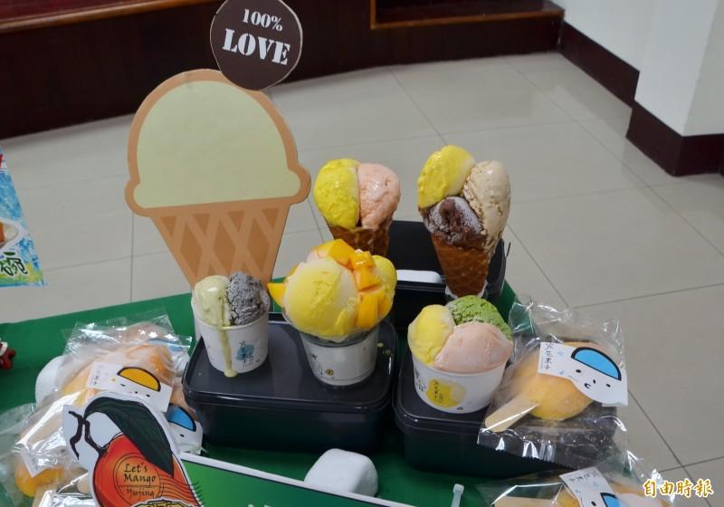 各式芒果冰品,炎夏清涼、消暑。(記者吳俊鋒攝)