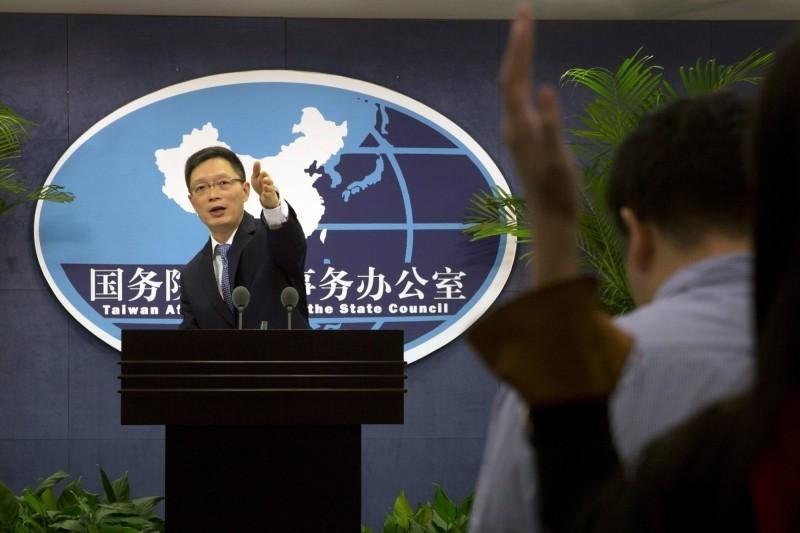 中國國台辦今舉行例行記者會,發言人安峰山回答提問。(美聯社)