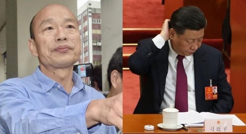 韓國瑜認為中華民國分為「自由地區與大陸地區」;王丹諷刺韓這是承認「習下韓上」傳言為真。(左圖資料照,右圖歐新社)
