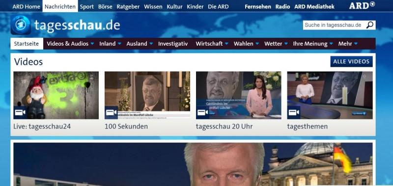 德國境內最重要的新聞節目「每日新聞」(Tagesschau),遭到中國當局全面封鎖。(圖擷取自官網)