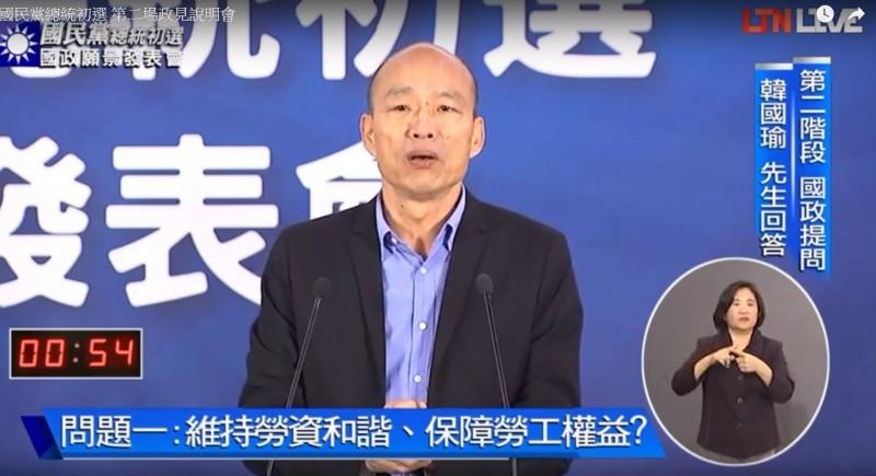高雄市長韓國瑜。(擷取自自由電子報影音直播)