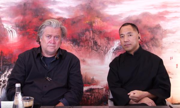 郭文貴(右)30日與班農(左)共同直播,郭文貴呼籲台灣應加強在美國的政治遊說。(圖擷自Youtube)