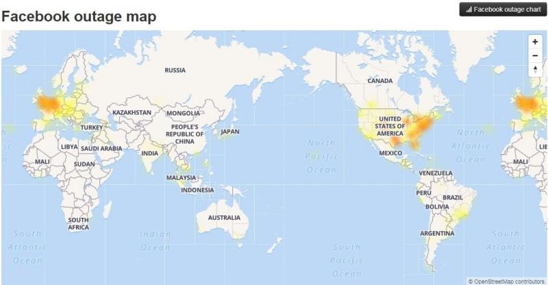 根據Facebook outage map回報,歐洲、美國等多地區受到嚴重影響,日本、台灣以及東南亞多地區也傳出當機災情。(擷取自downdetector.com)