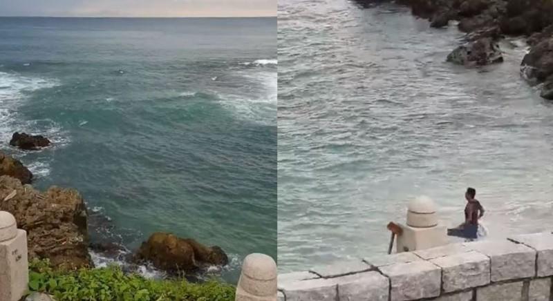 有遊客擅自下海戲水,過沒多久大喊救命,讓救生員趕忙進行救援任務。(圖擷取自爆廢公社)