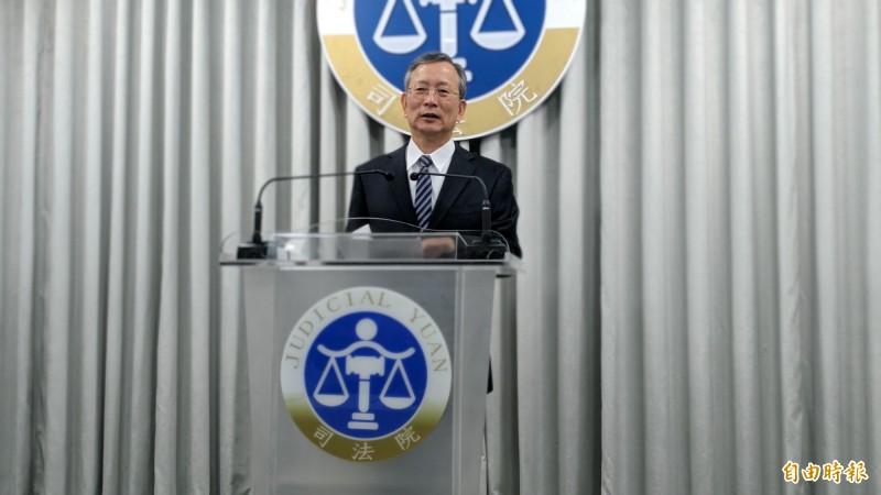 司法院祕書長呂太郎宣讀大法官釋字779號。(記者吳政峰攝)