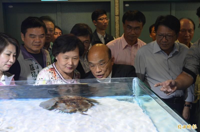 行政院長蘇貞昌夫婦參觀農科水族動物展示廳,對館內高科技養殖技術印象深刻。(記者李立法攝)