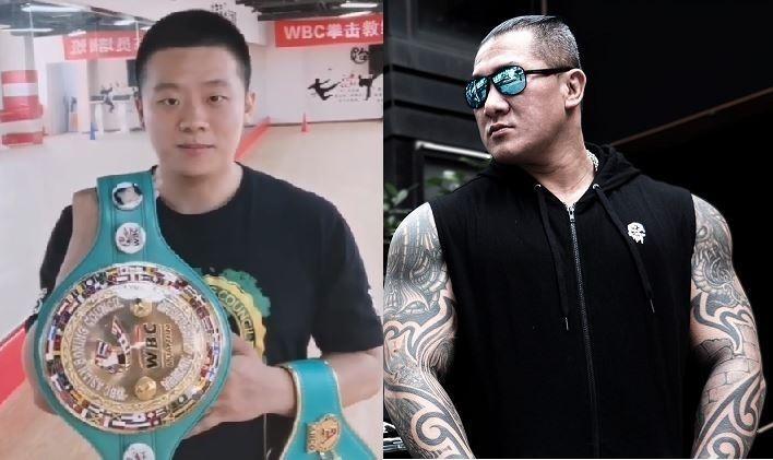 中國拳擊、泰拳雙料冠軍練喻軒(圖左)透露,目前雙方的團隊已私下溝通好,只要等簽證下來就能來台與館長比賽了。(圖擷取自YouTube,館長臉書,合成圖)