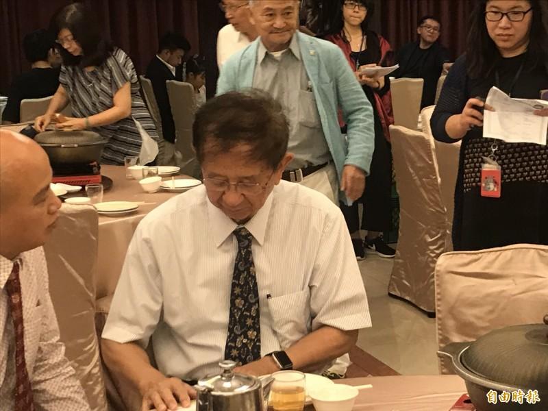 李遠哲今天出席公督盟募款餐會。(記者蘇芳禾攝)
