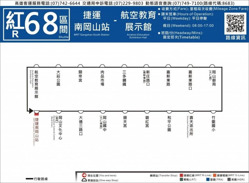 紅68公車即日起假日延駛到航空教育展示館。(記者王榮祥翻攝)