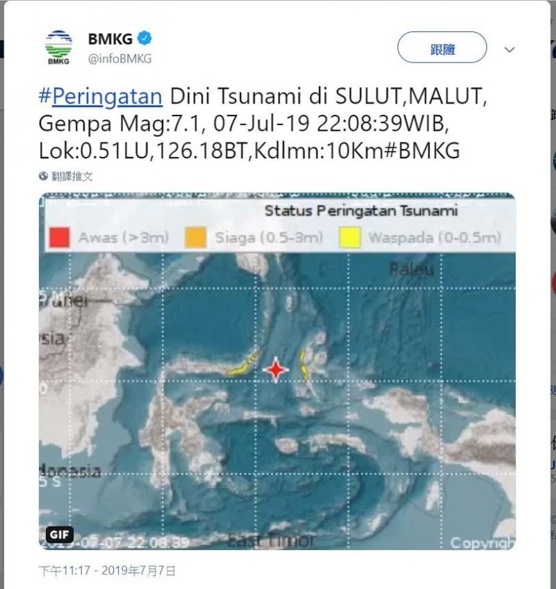 印尼蘇拉威西島海域週日(7日)深夜發生芮氏7.1強震。(圖擷取自推特)