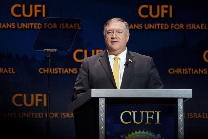 美國國務卿龐皮歐8日在華府接見黎智英,雙方討論香港《逃犯條例》及一國兩制的最新情況。(彭博社)