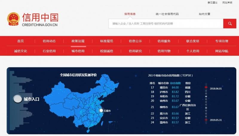 該網站可以查詢各城市信用評分排名。(圖擷取自信用中國)