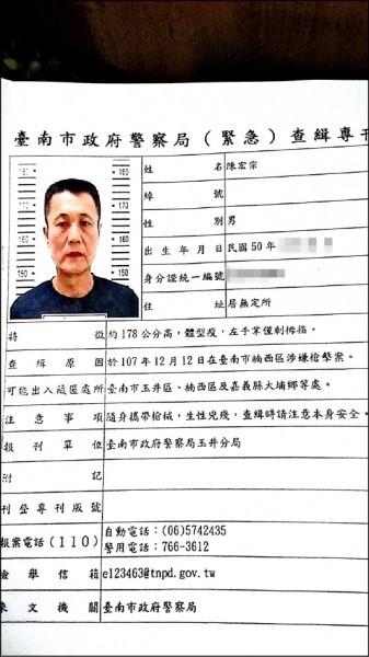 警方查緝專刊中,陳宏宗特徵是左手掌僅剩拇指。(資料照)