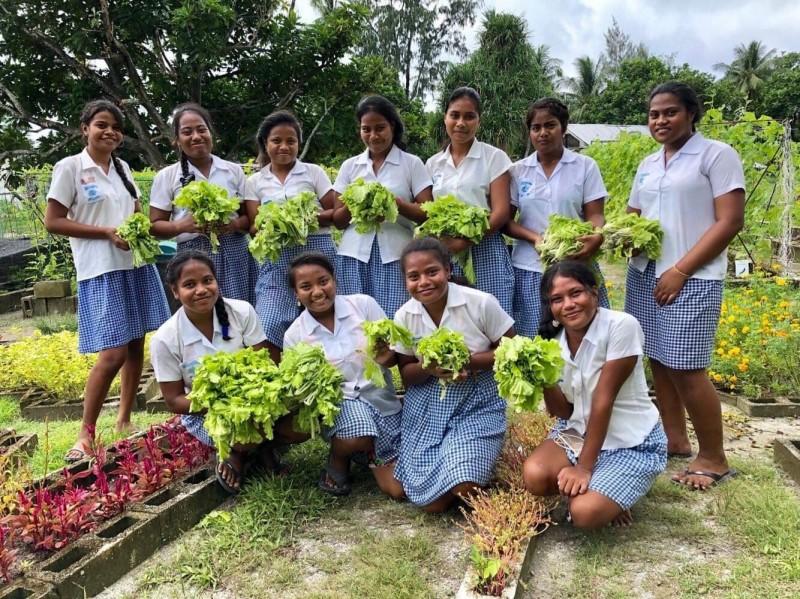國合會駐吉里巴斯技術團在校園中教導學生種植小白菜,圖為學生收成合影。(國合會技師陳翔齊提供)