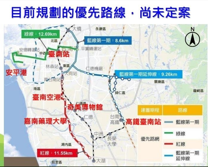 南市單軌捷運優先路線,目前尚未定案。(記者洪瑞琴翻攝)