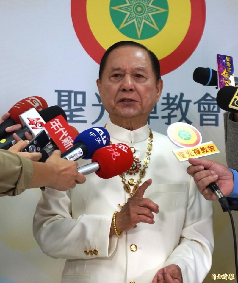 國會政黨聯盟的黨主席「悟覺妙天禪師」。(資料照)