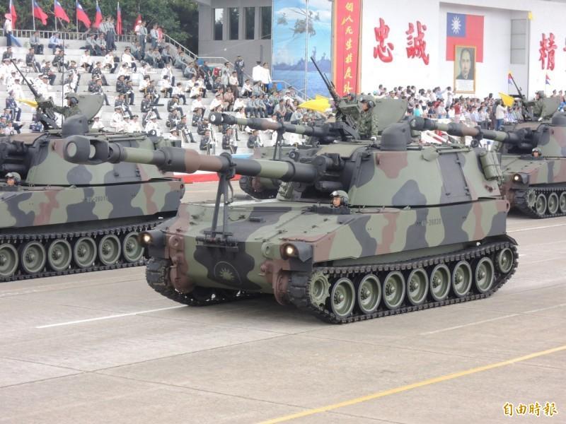 國軍現役M109A5自走砲。(資料照,記者羅添斌攝)