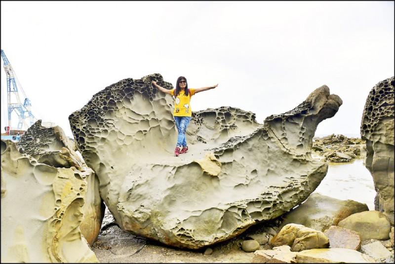 海邊這塊大岩石像隻跳躍的魚。(記者許麗娟/攝影)