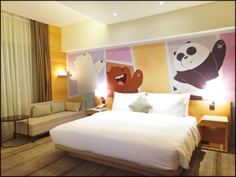 卡通頻道舒適雙人房/5,500元起(記者王姝琇/攝影)