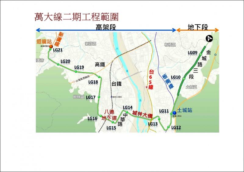 捷運萬大樹林線二期工程已啟動設計作業,可望在二○二一年發包施工。 (台北市捷運工程局提供)