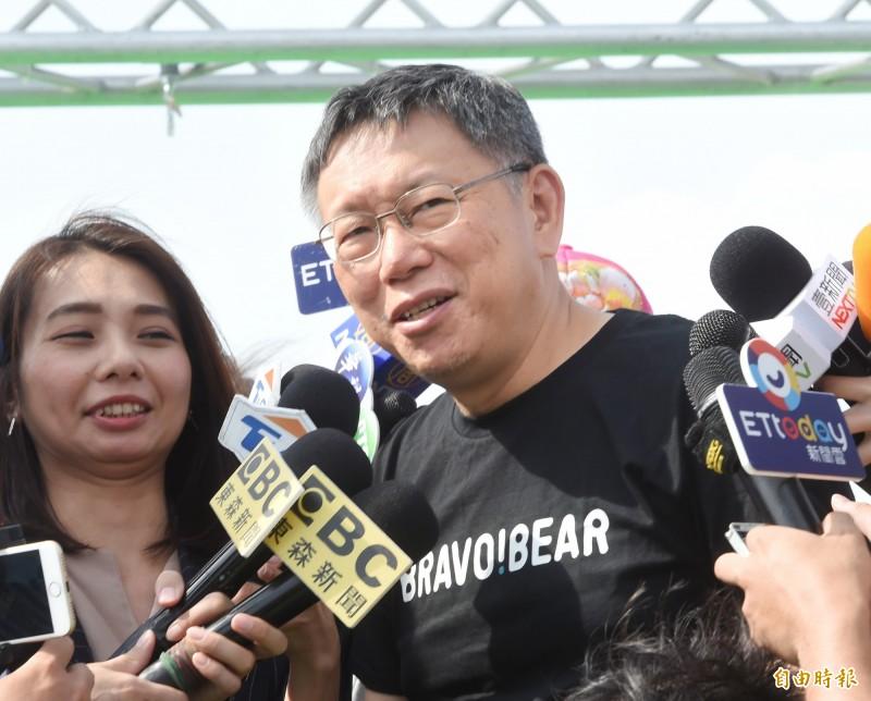 被問到會不會與郭台銘合作?台北市長柯文哲說,合作看定義是什麼,活在世界上每個人都可以合作。(記者方賓照攝)