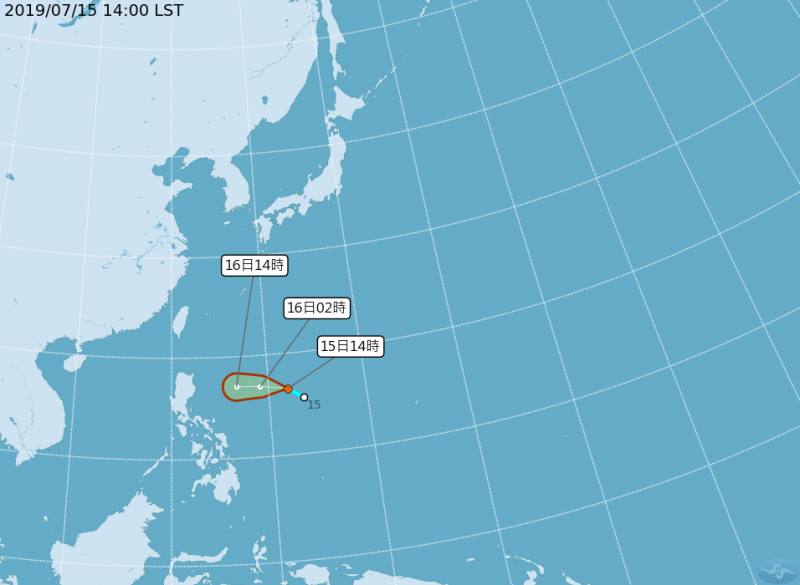 位於菲律賓附近的熱帶性低氣壓持續增強,中央氣象局預估,該熱帶性低氣壓週二增強為輕度颱風丹娜絲的機會最大。(圖擷取自中央氣象局)