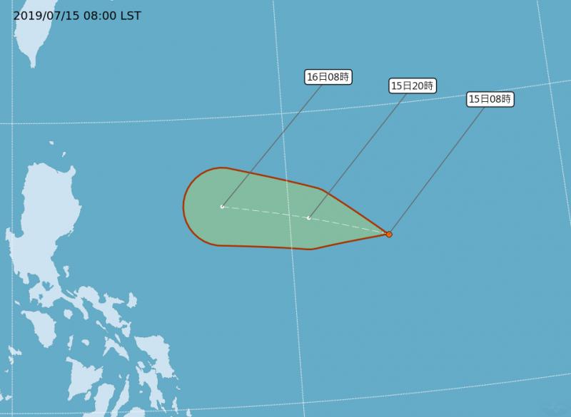 氣象局指出,準「丹娜絲」未來將進入巴士海峽,進入海峽後路徑有往北偏的趨勢,不排除發布颱風警報。(中央氣象局)