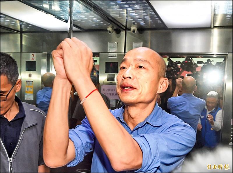 國民黨總統初選民調結果15日出爐,由現任高雄市長韓國瑜勝出。(記者方賓照攝)