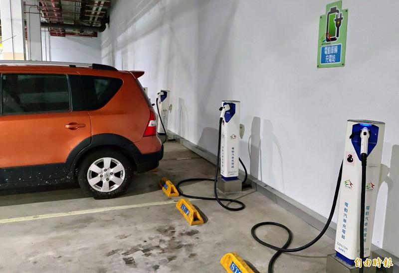 環保局推廣建置電動車充電站。(記者張菁雅攝)