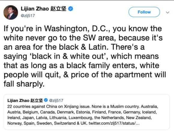 日前中國駐巴基斯坦外交官趙立堅在Twitter上公然批評簽署國家,並把矛頭指向美國的種族歧視,目前該則推文已遭刪除。(圖擷取自推特)