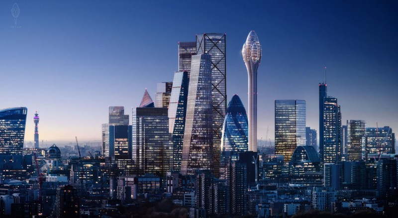 英國建築公司提案在首都倫敦興建一棟「鬱金香」塔樓,但遭倫敦市長打槍。(圖取自thetulip.com)
