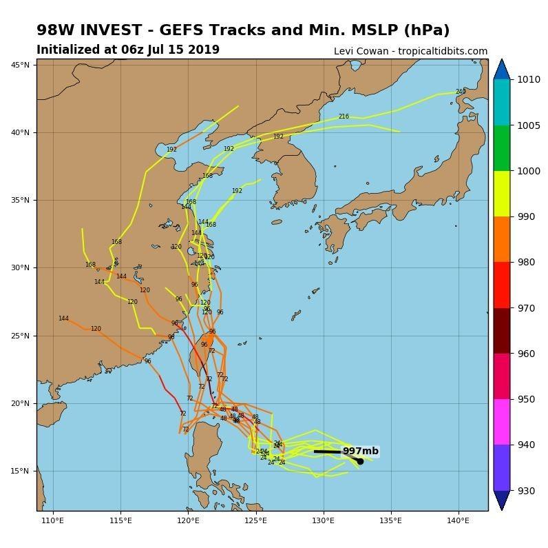 最新模擬路徑顯示,該熱帶低壓成颱後恐成為「穿心颱」。(圖擷取自tropicaltidbits)