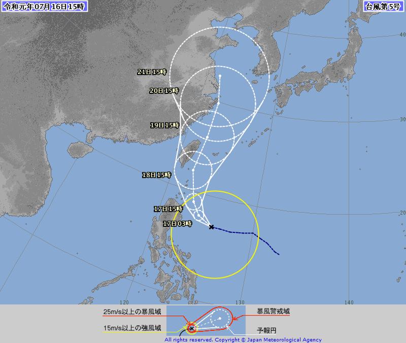 日本氣象廳預測,丹娜絲可能大角度北轉,從台灣東部外海北上。(日本氣象廳)
