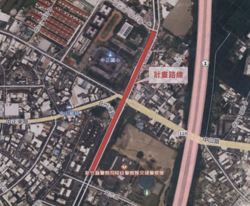 竹北市公所表示,環北路與中山路路口道路交通改善工程,未來採取車行地下道或是高架橋等方式,將視工程用地實際情況來做評估。(記者廖雪茹翻攝)