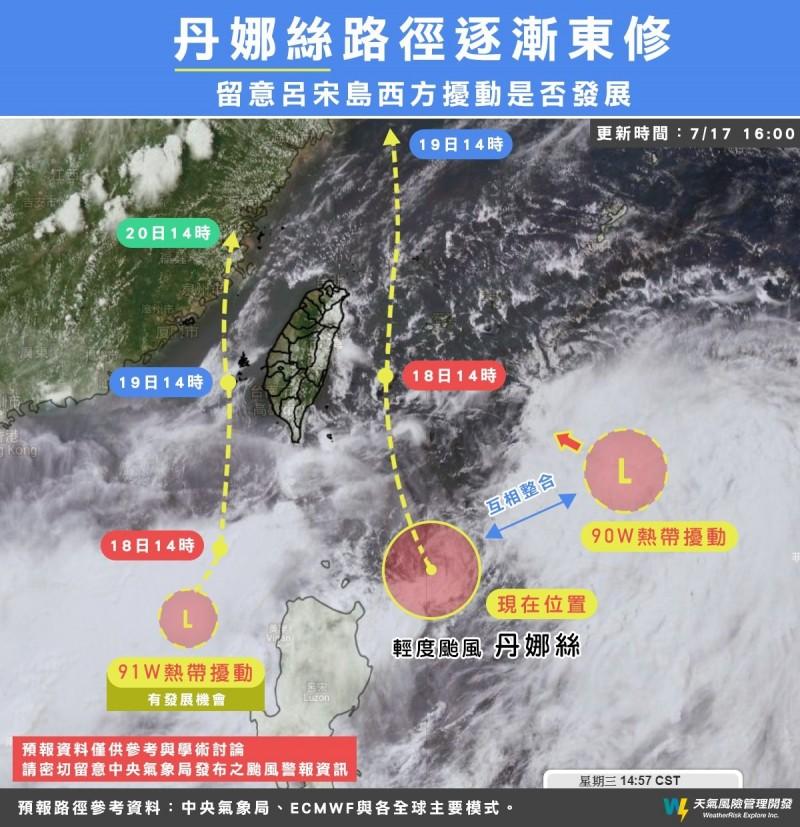 天氣風險公司製圖說明輕颱「丹娜絲」及熱帶擾動未來動向。(擷取自「天氣風險 WeatherRisk」臉書)