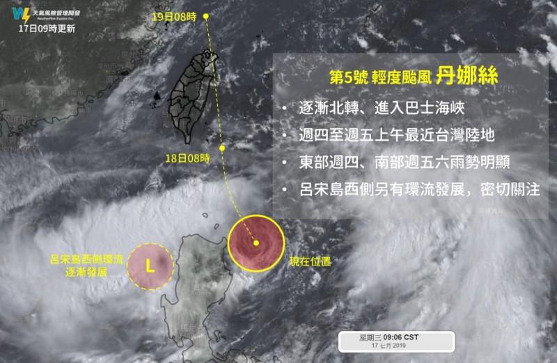 丹娜絲颱風遭受呂宋島地形破壞,高低層結構嚴重分離,進入南海的雲系恐獨立發展成一個新低壓。(天氣風險 WeatherRisk)