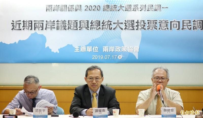 兩岸政策協會今公布「近期兩岸議題與2020總統大選投票意向」民調結果。(記者劉信德攝)