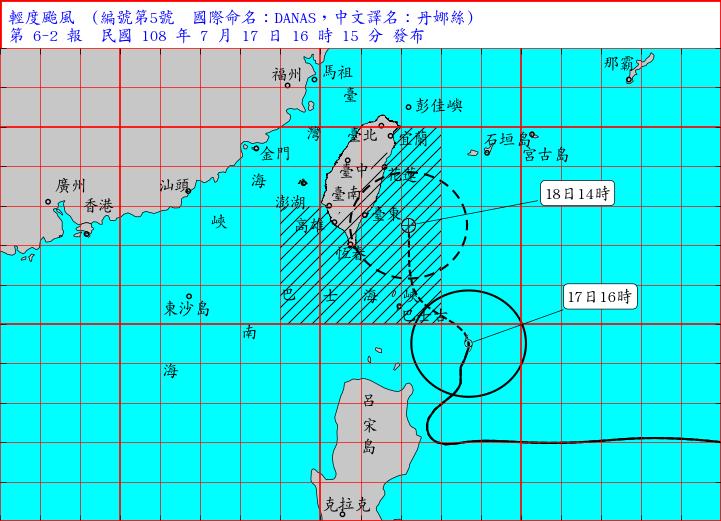 今年第5號颱風「丹娜絲」下午4點距鵝鑾鼻約400公里,陸警範圍為花東地區、恆春半島、屏東。(中央氣象局)