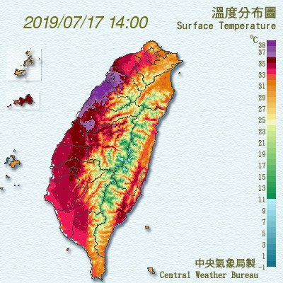 「丹娜絲」外圍環流沉降作用,為竹苗地區帶來大規模的焚風現象,西北部溫度分布呈現「紫爆」。(中央氣象局)