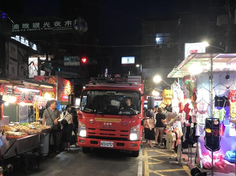 消防車開進夜市 新北實地演練救災動線