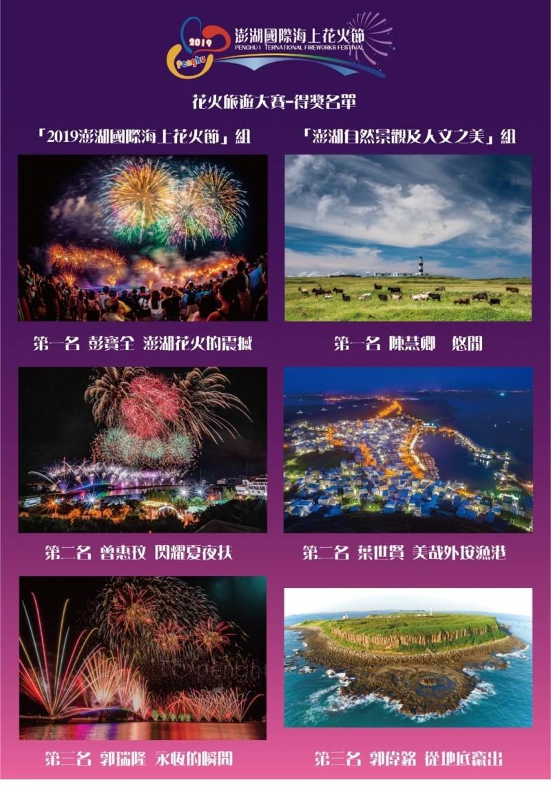 澎湖國際海上花火節攝影競賽,各組前3名作品製作成海報。(澎湖縣政府旅遊處提供)